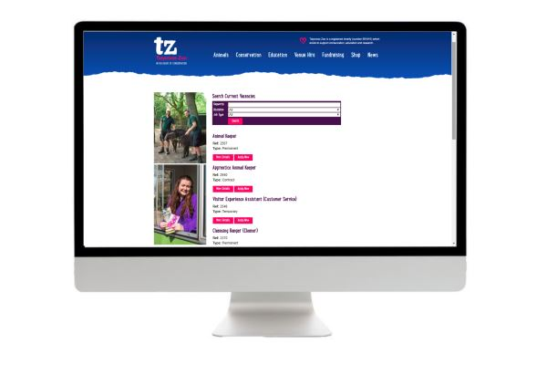 Twycross Zoo Careers Page Development Search Results