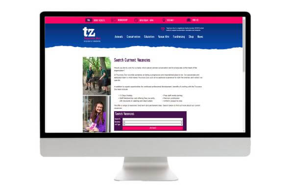 Twycross Zoo Careers Page Development Search Screen